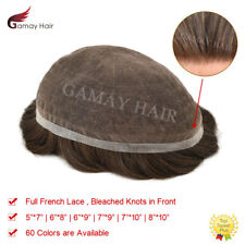 Full French Lace Mens Toupee All Lace Hairpieces Bleached Knots Indian Hair Wigs