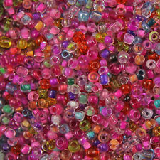 50g/150g MIXED PINK Transparent, Inside Coloured Glass Round Seed Beads11/0 2mm