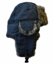 Faux Fur Herringbone Aviator Style Trapper Hat Adults Winter Cap with Ear Flaps