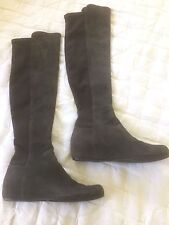 Stuart Weitzman Mainline Grey Suede Over The Knee Hidden Wedge Boots Sz 5M