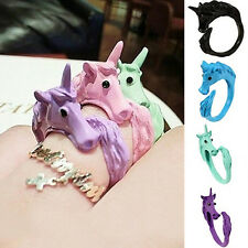 Women Alluring Candy Color Unicorn Finger Ring Enamel Horse Jewelry Ring ft
