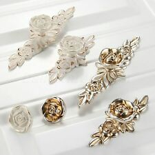 European Rural Rose Door Handles Antique Silver Cabinet Drawer Knobs Zinc Alloy
