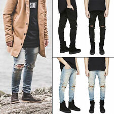Fashion Mens Pleated Distressed slim fit Jeans Skinny Ripped Denim Pants USA