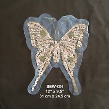 XL Silver Black Butterfly Lace Sequin Embroidery Neckline Collar Patch Applique