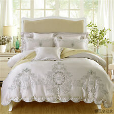 MAJESTY Bedding Luxury Sheets Comforter Duvet Cover Set (Queen, Full) - Pearl