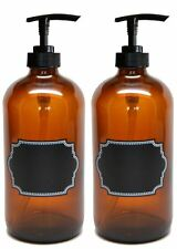 Firefly Craft Glass Pump Bottles with Chalkboard Labels, 16 ounces each