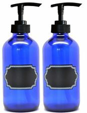 2 Pack Firefly Craft Glass Pump Bottles with Chalkboard Labels, 8 ounces each