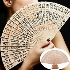 Party Fragrant Hollow Hand Carved Wooden Bamboo Folding Fan