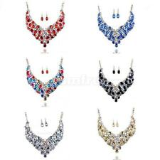 Chic Women Lady Chain Crystal Choker Pendant Statement Bib Necklace Earrings Set