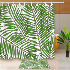 "71"" Palm Leaf Design Waterproof Fabric Shower Curtain Liner Bathroom Doormat Set"