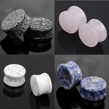 New Pair Semi Precious Natural Stone Double Flare Ear Plug Flesh Tunnel Expander