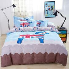 Single Queen King Bed Set Pillowcase Quilt Duvet Cover Stylish English CAUOZ