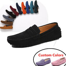Mens womens Loafers Suede Leather Comfy Moccasin slip on Casual Flats Shoes NEW