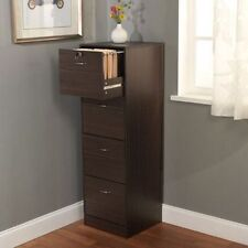 4 Drawer Filing Cabinet Brown Office Storage Home Furniture Wood Organizer Lock