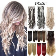 Hair Extensions Real Thick 3/4 Half Full Head Clip In Long Straight as human New
