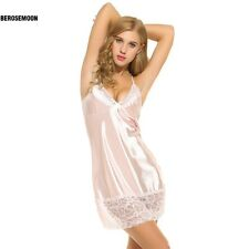 Women Sexy Lingerie Spaghetti Strap Satin Lace Nightgown Chemises Slip B0N01