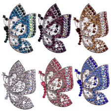 Women Gorgeous Full Rhinestone Crystal Butterfly Insect Silver Plated Brooch Pin
