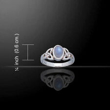 CELTIC TRIQUETRA / INFINITY KNOT Ring Sterling Silver - Rainbow Moonstone