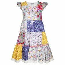 GIRLS CHILDRENS NEW SUMMER PARTY DRESS PATCHWORK FLORAL AGE 3 4 5 6 7 8 9 10 11