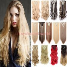 Mega Thick 8Pcs 18Clips Clip in Full Head Hair Extensions As Human Hair Piece nw