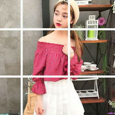Women's Off Shoulder Ruffle Bell Sleeve Strapless Plaid Loose Tops Blouse Shirt