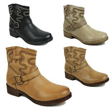 WOMENS LADIES BLOCK HEEL COWBOY WESTERN CHELSEA ANKLE BOOTS SHOES SIZE 3-8