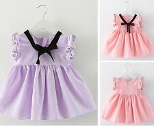 2017 Fashion Baby Girl Kids Clothes Newborn Toddler Infant Bowknot Cotton Dress