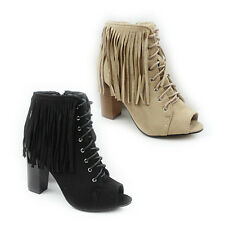 WOMENS LADIES PEEP TOE HIGH BLOCK HEEL LACE UP TASSLE ANKLE BOOTS SHOES SIZE 3-8