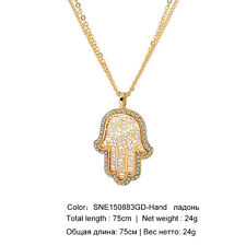 Gold plated Hamsa Fatima Hand Crystal Necklaces For Women LARGE PENDANT- 6cm