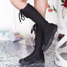 Punk Womens Canvas Sneakers Tall Mid Calf Lace up Knee high Boots Zip Flat Shoes