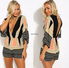 Sexy Womens 3/4 Sleeve Low Cut Deep V Neck Backless Top Rompers Jumpsuits Shorts