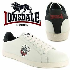 Lonsdale Mens Lowton Trainers Union Jack White Tennis Style Casual Shoes