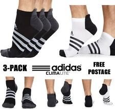 New 3-PACK ADIDAS 3-STRIPES Climalite Thin Liner Cushioned Socks | 3 x Pairs