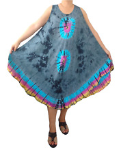 """Plus Size Loose Fit Dress Tops Sundress Tie Dye Holiday Beach Cruise, Bust 52"""""""