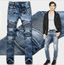 Men's Designed Straight Slim Fit Biker Jeans Casual Pants Skinny Denim Trousers