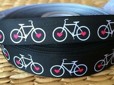 "1, 3 or 5 yds 7/8"" BICYCLE LOVE inspired grosgrain ribbon- FLAT RATE SHIPPING"