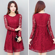 Women's Long Sleeve Hollow Out Floral Full Lace A-Line Vintage Swing Party Dress