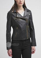 womens leather jacket golden zipper soft real lambskin motorcycle coat  S M L