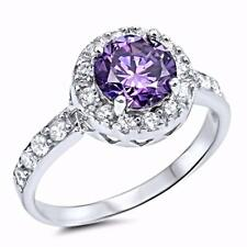 NEW WOMEN'S 925 STERLING SILVER RING- ROUND PURPLE AMETHYST 2 CARATS- CRYSTAL