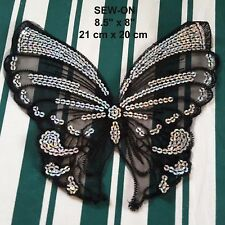 Black Silver Butterfly Lace Sequin Embroidery Neckline Collar Patch Applique