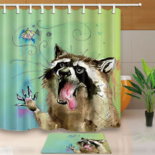 Funny Raccoon Waterproof Fabric Shower Curtain Liner w 12 Hooks Bathroom Mat Set