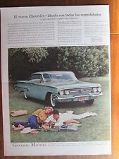CHEVROLET CUPE SPORT BEL AIR 1960 AD ORIGINAL FROM A MAGAZINE IN SPANISH