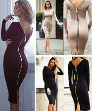 New Women Sexy Bandage Bodycon Long Sleeve Cocktail Party Evening Backless Dress