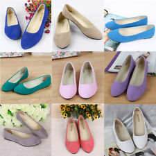 Womens Cute Casual Comfort Slip On Round Toe Ballet Suede Leather Flat Shoes