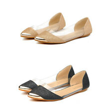 Womens Shiny Ballet Flats Ballerina Casual Slip On Shoes Ladies Faux Leather