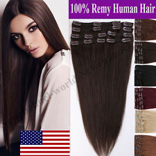 "8PCS 16""-24"" 100% Real Human Hair Full Head Clip in Remy Hair Extensions US B144"