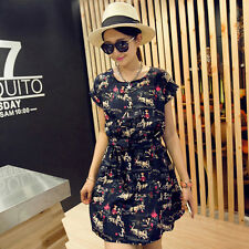 Women's Korean Style Fashion Portrait Printing Linen Elastic Waist Dress M-XXL