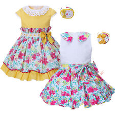 Girls Flower Dress and Headband Set Easter Party Wedding Pageant Communion