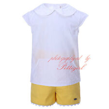 Boys White T Shirt Top + Yellow Shorts Set 2Pcs Children Summer Party Outfit
