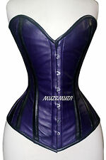 Blue Real Leather,Real Steel Bones,Laceup,Sweetheart,Full Bust Corset,2XS~7XL
